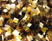 100 Odd Size Mix AMBER - ROOTBEER - SUNSHINE GoLD Glass Tiles - Mosaic Supply B36