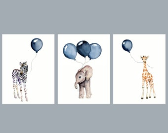 nursery wall art, set of 3 , navy nursery decor, baby animal prints, baby boy wall decor, children's art prints, watercolor safari animals