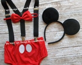 Mickey Mouse Birthday cake smash outfit costume FREE Ears black Suspenders clubhouse diaper Cover RED Bowtie baby boy 12 18 24 toddler SALE