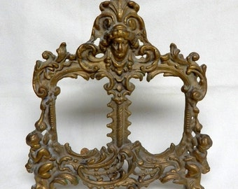 Sale Vintage Brass Cherub Ornate Double Picture Frame Victorian Style Home Decor Art Nouveau