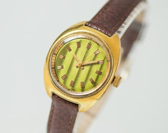 Stripy green women's watch Ray, gold plated lady wrist watch, 80s fashion lady's wristwatch, modern woman watch, premium leather strap new