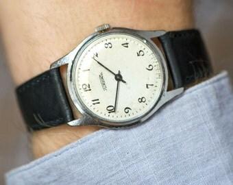 Minimalist men's wrist watch Rocket, dress watch black white, gent's watch round, classy men's watch, vintage gift him, leather strap new