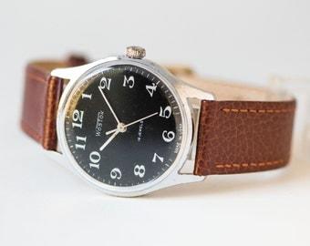 Men's wristwatch black, Soviet men watch WOSTOK\East, classy gent watch, minimalist men watch,mechanical watch 70s,premium leather strap new