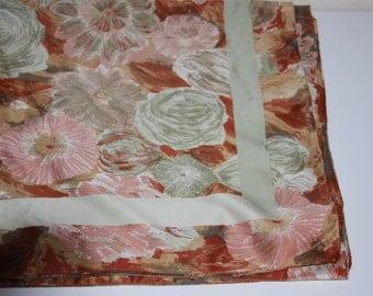 "Designer Scarf - 30 x 30"" Square - Greens and Oranges - Floral"