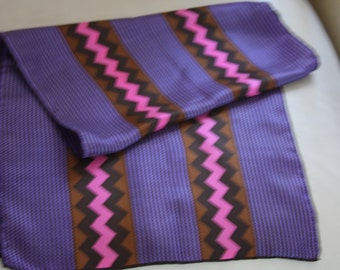 GLENTEX Silk Scarf Purple Brown Zig Zag Print 15x44""