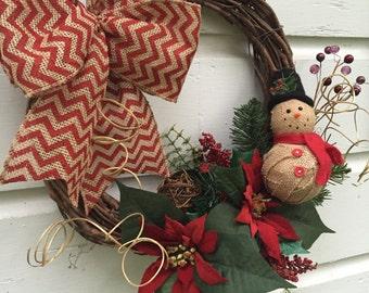 Natural Snowman Grapevine Wreath