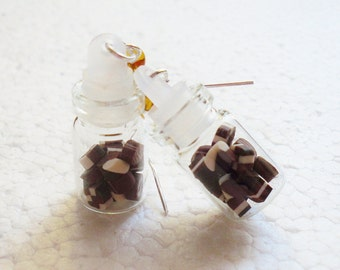 Jar of Chocolates Earrings. Polymer Clay
