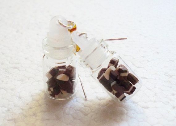 Jar of Chocolates Earrings. Polymer Clay