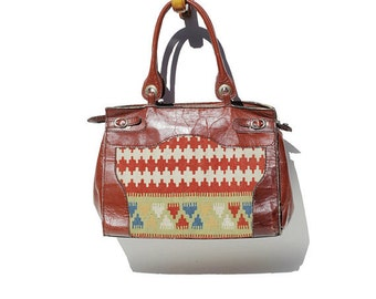 Kilim Wool Tapestry & Leather Tote Bag