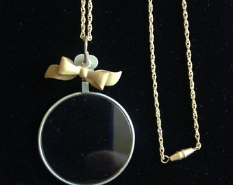 Vintage Optical Lens Necklace with Vintage Brass Bow