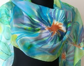 Floral silk scarf. Hand painted blue floral scarf. Blue, green, yellow shadows scarf. Flowers scarf. Estonian design.