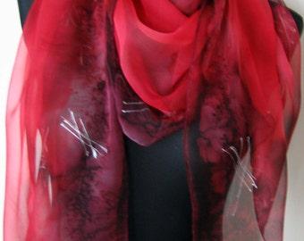 Chiffon Scarf for Ladies. Hand Painted Chiffon Scarf. Dark Red, Silk Chiffon Scarf. Silver Stars. 18x71 in Chiffon Scarf