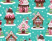 Michael Miller Christmas Fabric by the yard Gingerbread Houses in Aqua 1 yard