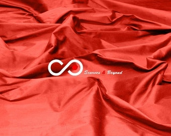 Silk Dupioni Fabric - Vermilion D373 - Section Red - 1 yard 100% Silk Dupion