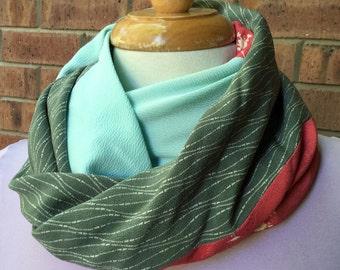 Silk infinity scarf, Japanese kimono silk