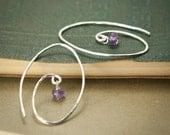 Amethyst Spiral Earrings - Sterling Silver Hammered Oval Circle Purple Genuine Gemstone - Intuition, Healing, February Birthstone