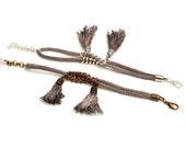 Taupe Tassel Bracelet, Boho Bracelet, Rope Bracelet, Nautical Bracelet, Hippie Jewelry, Cord Bracelet, Tribal Bracelet