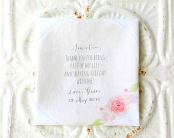 FRIEND, BRIDESMAID handkerchief . thank you for being part of my life printed hankie . wedding party . gift . your choice of color