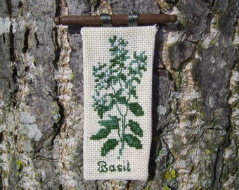 1/12th scale dollshouse miniature small basil cross stitch wall hanging