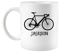 Custom Name Mug, Bicycle Coffee Mug, Gifts for Him, Bike Mugs, Gifts for Bikers, Biking Quotes, Coworker office gifts, Cycling