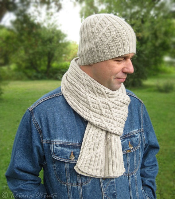 Knitting Pattern For Mens Scarf And Hat : Beige gray hat scarf hand knit men set unisex beanie scarf