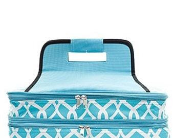 Monogrammed Casserole Carrier - Aqua Vine Pattern - Tailgate Bag - Shower Gift - Wedding Gift - Personalized Gift