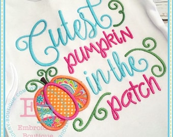 Cutest pumpkin in the patch Monogrammed Shirt - Girl's Thanksgiving shirt  - Fall shirt - Monogram - Holiday Shirt - Birthday Shirt