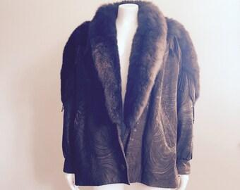 Fringe Leather / Marvin Richards / 80s Leather Jacket / Leather Fur Coat / Southwestern / Boho Fringe