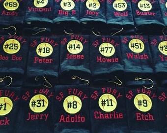 12 Personalized baseball towels, softball towels, personalized towels, custom embroidery, pin towel,