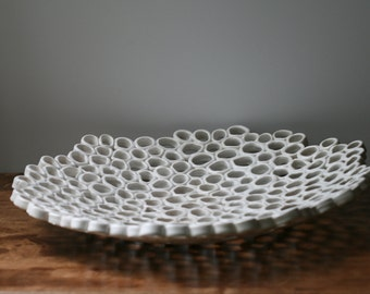 White fruit bowl,centrepiece, minimal organic home decor, contemporary ceramics, Custom order
