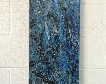 Large wall art canvas artwork blue black large canvas panting palette knife painting acrylic abstract impasto artwork large canvas wall art
