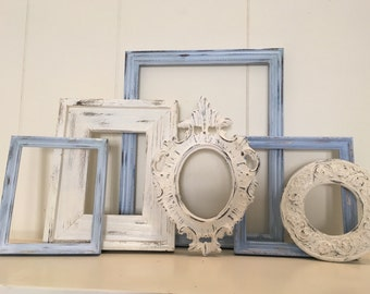 Baby Boy Nursery Decor, Blue Cottage Chic Ornate Vintage Frames, Upcycled, Painted Frames