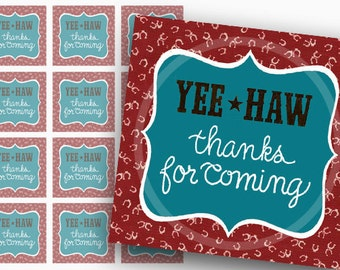 Western gift Tags, Country Thanks Tags, Favor Tags, Digital Tags, Western Printable Tags, Printable birthday party Tags