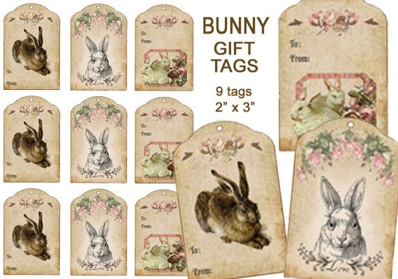 Easter rabbit gift tags easter bunny tags digital basket easter rabbit gift tags easter bunny tags digital basket tags french bunny tags diy easter tags scrapbook clip art craft supplies negle