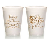 Fisherman Wedding Cups, Wedding Cups, Catch of a Lifetime Favors, Fish Cups, Fishing Party Cups, Frosted Cups, Fisherman Party Cups, 1510