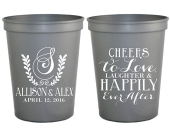 Monogrammed Plastic Cups, Cheers to Love and Laughter Party Cups, Monogrammed Wreath, Wedding Cups, Custom Cups, Monogrammed Cups, 1072