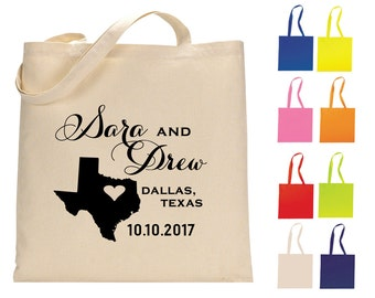 State Wedding Tote Bags, Personalized Tote Bags, Texas Wedding Tote Bags, State Welcome Bags, Wedding Favors, Texas Favors, Tote Bags, 1101