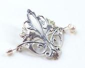 Fleur De Lis Shawl Pin, Fleur De Lis Scarf Pin, silver shawl pin, hair slide, oxidized, fall fashion, antique design, victorian