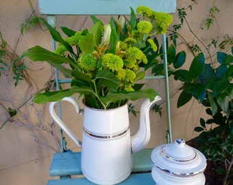 Vintage Enamelware Coffee Pot Biggin Creamy White Gold Trim Three Piece Cafetiere Enamelware Jug Pitcher Vase