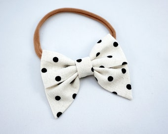 Linen Mini Sailor Bow -Ivory with Black Dots-  Nylon Skinny Headband or Hair Clip