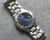 Vintage ESQ mens swiss quartz watch blue dial SS bracelet
