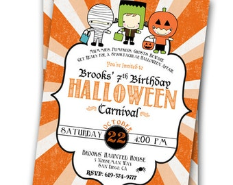 Halloween Invitation Halloween Carnival Invitation Costume Party Halloween Party Customizable 5x7 Invitation Pumpkin Party Birthday