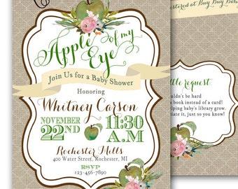 Apple of My Eye Baby Shower Invitation Autumn Baby Autumn Shower Green Apple Shower Fall Shower Invitation 5x7 Printable Granny Smith