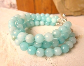 Amazonite Beaded Bracelet.Aqua Chunky Amazonite Bracelet.Four Strand Toggle Bracelet. Amazonite Jewelry. Chunky Jewelry. Bridesmaids Jewelry