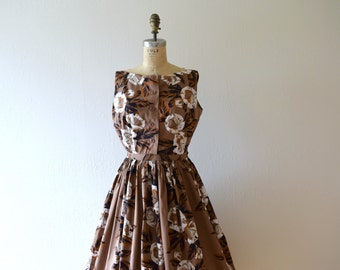 Vintage 1950s sundress . vintage 50s tropical print dress