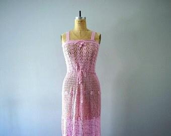 1970s crochet dress . pink crochet dress . vintage 70s dress