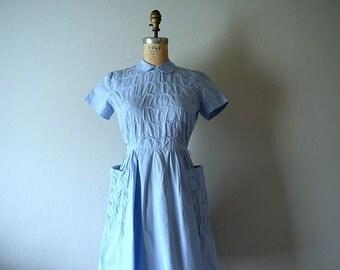 1940s light blue dress . vintage 40s dress