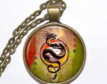 YIN & YANG DRAGON Necklace, Fantasy, Magic, Chinese Philosophy, Art Pendant Necklace, Glass Pendant, Handmade Jewelry