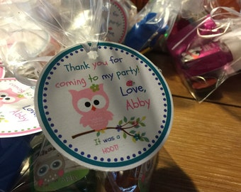 Owl party favor tags/owl tags/owl party tags/party favor tags