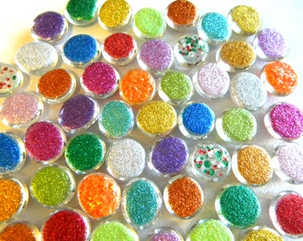 50 Mixed Colors - Glass Glitter Gems - Hand Painted - Medium Size - Half Marbles/Cabochons